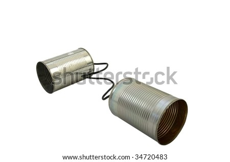 Two tin cans attached to each other isolated on a white background - stock photo