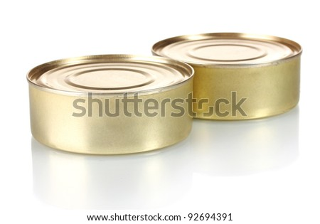Two tin with food isolated on white - stock photo