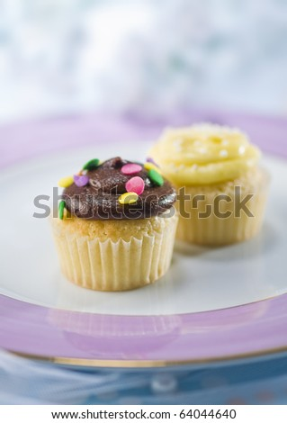 Two tiny cup-cakes in a plate - stock photo