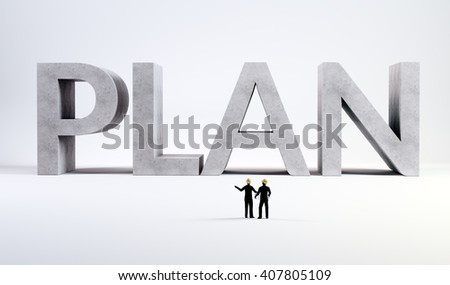 Two tiny engineers overseeing a plan - 3d concept illustration - stock photo