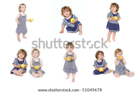 two toddler girls with green apples, collection - stock photo