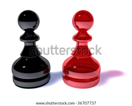 Two tokens in red and black - stock photo