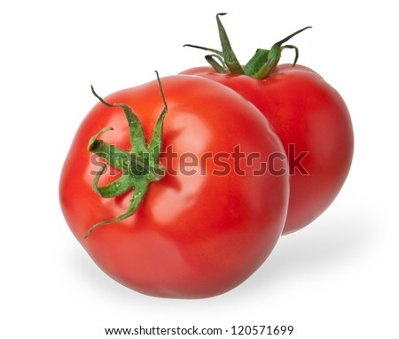 Two tomato  isolated on white background - stock photo