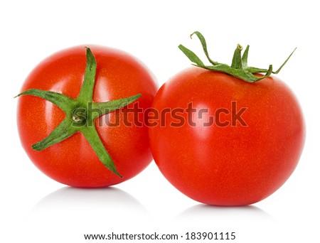 Two tomato isolated on white background - stock photo