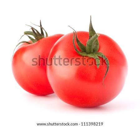 Two tomato vegetable isolated on white background cutout - stock photo
