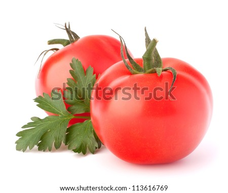 Two tomato vegetables and parsley leaves still life isolated on white background cutout - stock photo