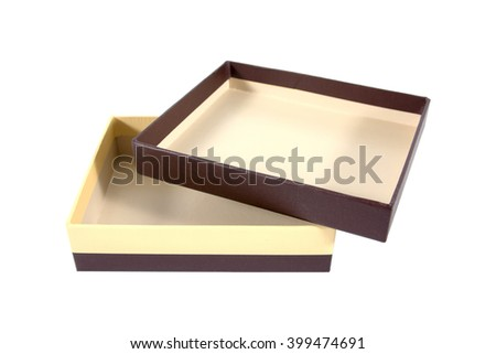 Two tone brown and yellow cardboard box isolated on a white background