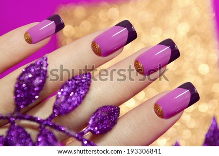 Two-tone French manicure pink and purple colors for brilliant background with decorative sheet  - stock photo