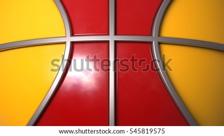 Two Tone Red and Yellow Basketball with Silver Line. 3D illustration. 3D CG. High resolution.