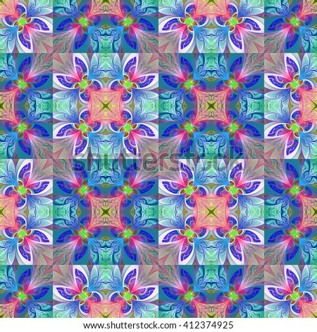 Two-tone seamless flower pattern in stained-glass window style. You can use it for invitations, notebook covers, phone case, postcards, cards, wallpapers and so on. Artwork for creative design, art  - stock photo