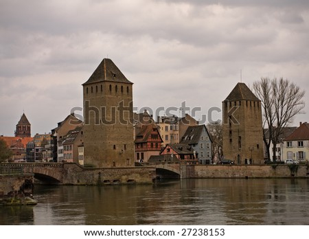 Two tower near Petite France in Strasbourg - stock photo