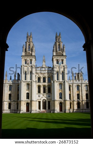 Two towers of All Souls College, Oxford - stock photo