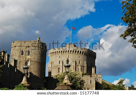 Two towers of Windsor Castle - stock photo