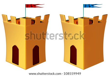 two towers with flags as a symbol of medieval history - stock photo
