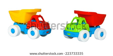 two toys car the trucks isolated on a white background - stock photo