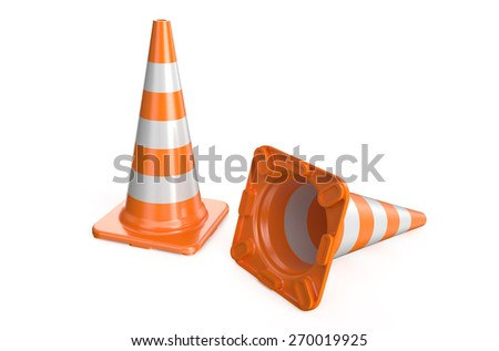 two traffic cone - stock photo