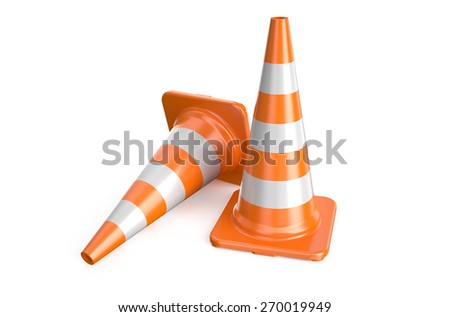 two traffic cone isolated on white background - stock photo