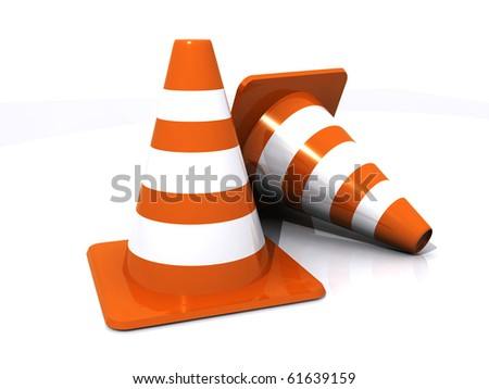 Two traffic cones - stock photo