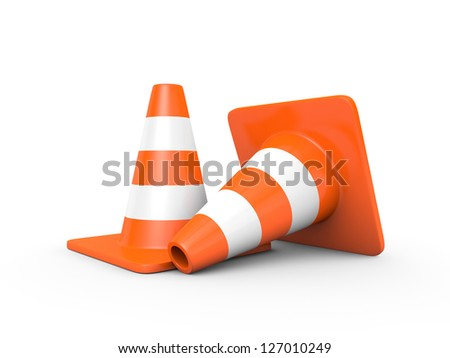 Two traffic cones isolated on white (3D render) - stock photo