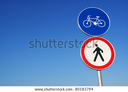 two traffic sign - cyclists and pedestrians - stock photo