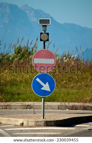 Two traffic signal, solar powered - stock photo