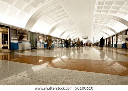 Two trains on underground platform, interior - stock photo