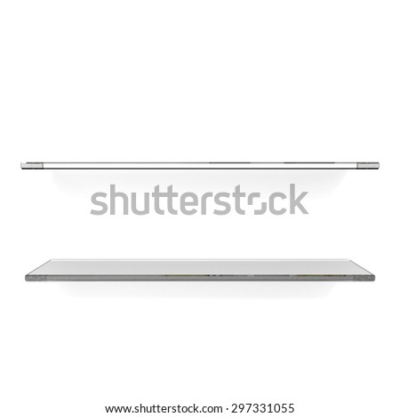 two transparent shelfs on white background - stock photo