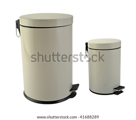 Two trash cans in white background - stock photo