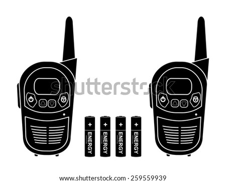 Two travel portable mobile raster radio set devices wit 4 accumulator batteries. Black silhouette illustration isolated on white - stock photo