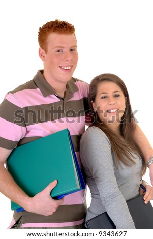 Two trendy teenager students, high school love , studio shot, white background, reflective surface