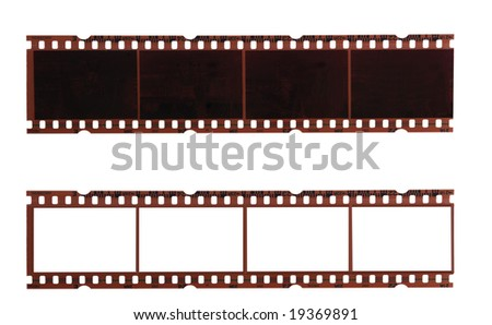 two trips of negative films isolated on white background - stock photo