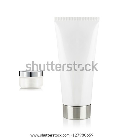 Two tubes with cream - stock photo