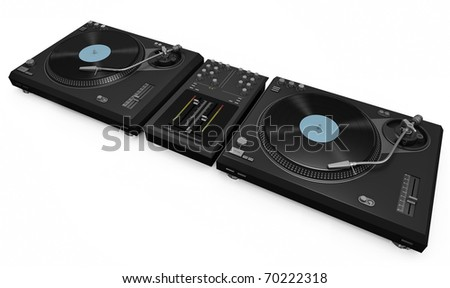 Two turntables and mixer. 3D render. - stock photo