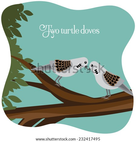 Two turtle doves on a branch  - stock photo