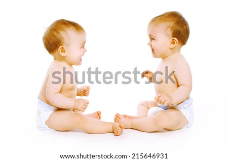 Two twins baby  - stock photo