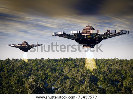 Two UFO's a search and rescue mission.Searching the forest with light beams. Original science fiction illustration - stock photo