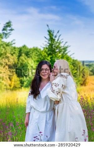 Two ukrainian girls in national costumes at the flower green meadow  - stock photo