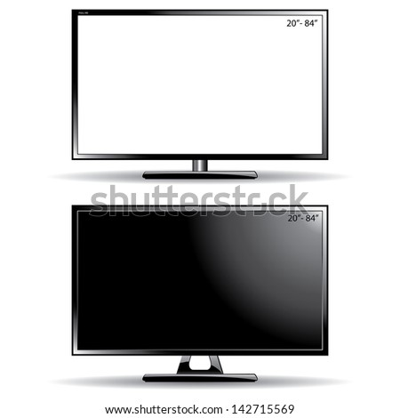 Two ultra slim tv (monitor) with Blank Screens and black screen, isolated on white background - stock photo