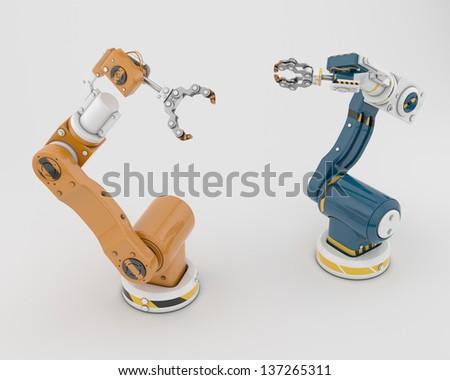 Two unique robotic construction helpers / Smart tools - stock photo