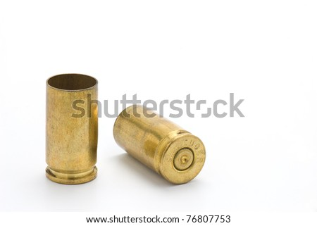 Two used 9mm shell casings - stock photo