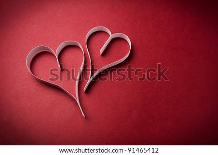 two valentine's paper hearts , valentine's day , day valentine - stock photo