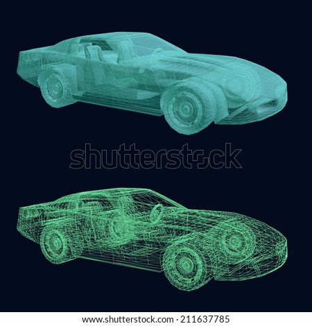 Two variants of the sports car design - wireframe and transparent model - stock photo