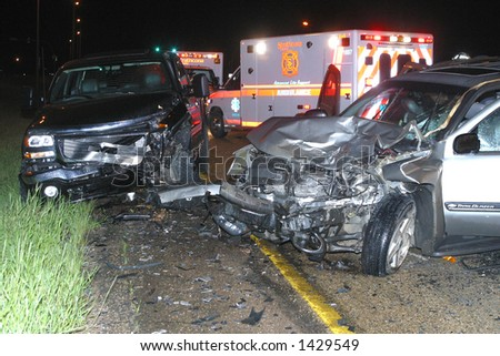 two vehicle wreck - stock photo