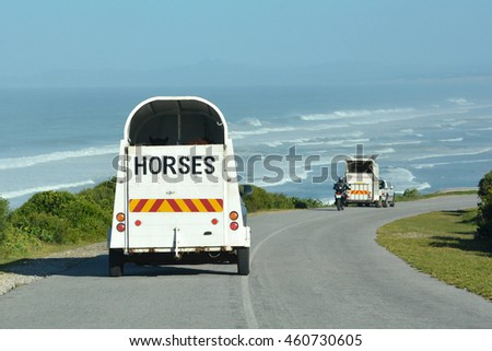 Two vehicles on the road transporting horses in horseboxes to the beach.