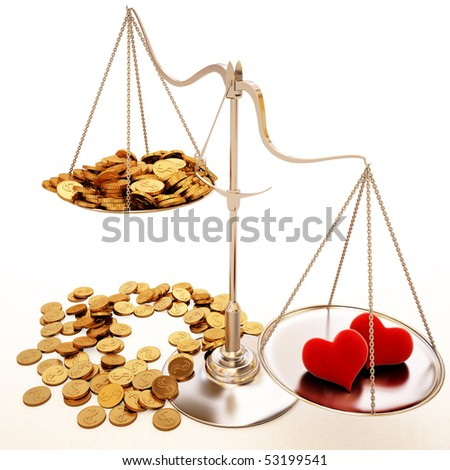 two velvet heart outweigh lot of gold coins. isolated on white.