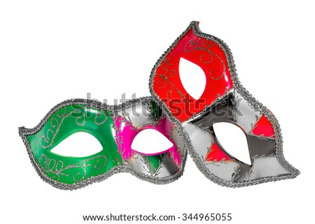 Two Venetian carnival half-mask silver red green black pink asymmetry pattern isolated white background