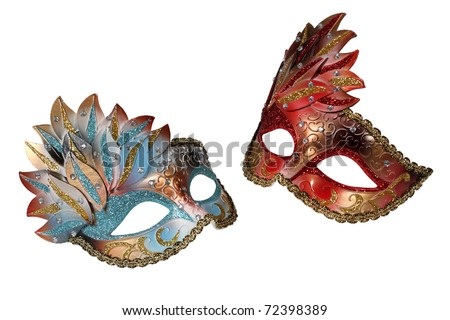 Two Venetian masks isolated on white - stock photo
