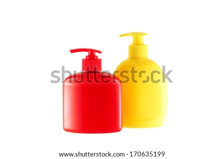 Two vials for hygienic means. Red and yellow. Isolated.
