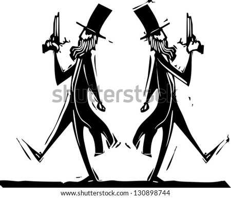 Two Victorian gentlemen with pistols in a duel.