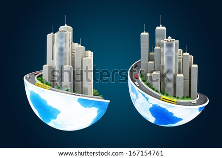 Two view of Earth with the different elements on its surface. 3D illustration.